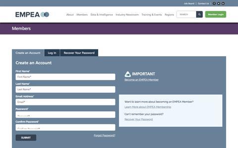 Screenshot of Login Page empea.org - Login - EMPEA - captured Aug. 1, 2017