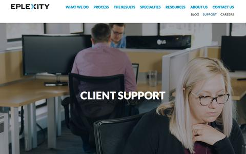 Screenshot of Support Page eplexity.com - Eplexity | IT Support for Cloud Solutions & Services in Colorado - captured July 20, 2018