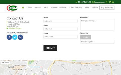 Screenshot of Contact Page awm.uk.com - AWM - captured Nov. 21, 2016