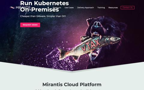 Screenshot of Home Page mirantis.com - Managed Open Cloud | Mirantis - captured Feb. 11, 2019
