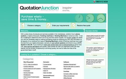 Screenshot of Home Page quotationjunction.com - Vending Machines   Franking Machines   Phone Systems   Photocopier Machines   Photocopiers � Quotation Junction - captured Dec. 15, 2015