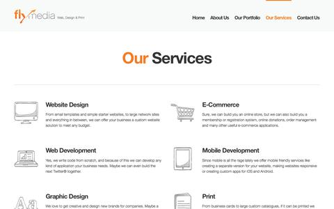 Screenshot of Services Page flymedia.ca - Website design, mobile application, e-commerce, branding, database services Burlington - captured Feb. 10, 2016