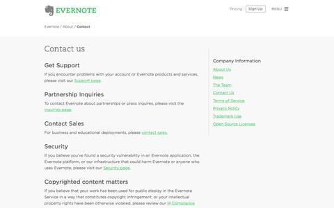 Screenshot of evernote.com - Contact Us | Evernote - captured June 16, 2015