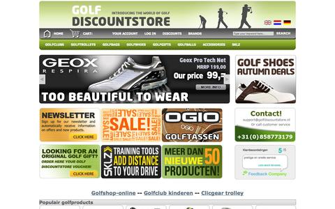 Screenshot of Home Page golfdiscountstore.nl - Golf Discount Store, the online golf shop for affordable golf products. - golfdiscountstore.nl - captured Sept. 30, 2014