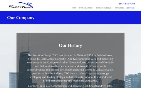 Screenshot of About Page theswansongroup.com - Our Company - The Swanson Group - captured Feb. 28, 2016