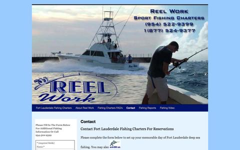 Screenshot of Contact Page lauderdalefishing.com - Contact Reel Work Fort Lauderdale, Florida Fishing ChartersReel Work - captured Oct. 26, 2014