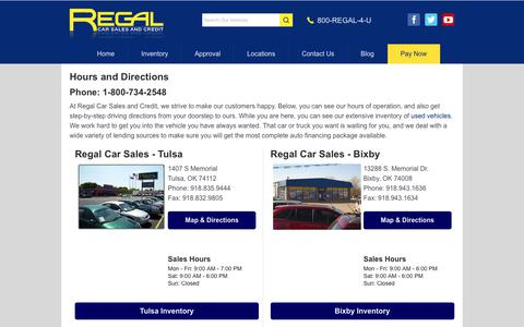 Screenshot of Locations Page regalcars.com - Directions to Regal Car Sales and Credit | Springfield, Missouri, Wichita, Kansas, Oklahoma City, Grove & Tulsa, Oklahoma | Used Vehicles & Auto Loans - captured Oct. 18, 2018