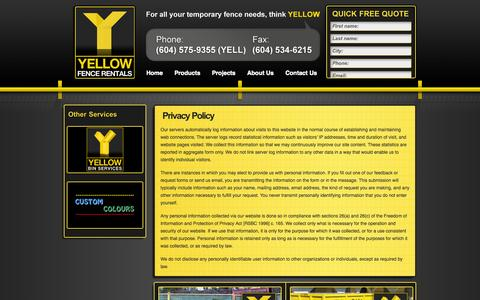 Screenshot of Privacy Page yellowfencerentals.com - Privacy Policy | Yellow Fence Rentals - captured Oct. 27, 2014