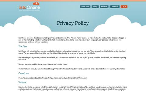 Screenshot of Privacy Page listsonline.com - listsOnline - Privacy Policy - captured Sept. 30, 2014