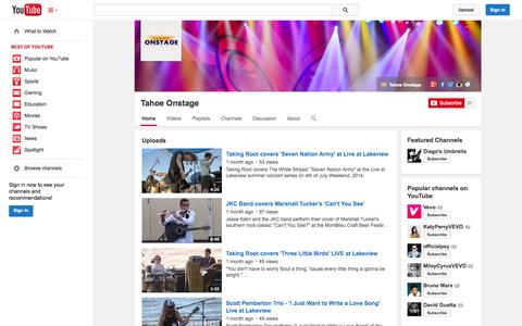 Screenshot of YouTube Page youtube.com - Tahoe Onstage  - YouTube - captured Oct. 29, 2014
