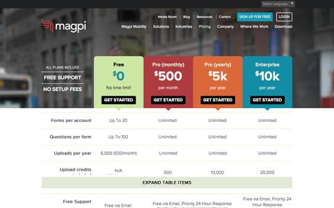 Screenshot of Pricing Page magpi.com - Mobile Data Collection Software - Pricing Tiers | Magpi - captured Oct. 29, 2014