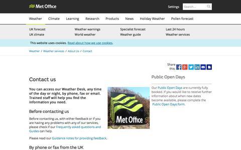 Screenshot of Contact Page metoffice.gov.uk - Contact us - Met Office - captured June 10, 2017
