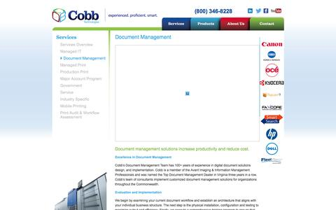 Screenshot of Services Page cobbtechnologies.com - Document Management - Printers - Copiers - Cobb Technologies - Document Management - Richmond - Roanoke - Tidewater - Virginia - captured July 14, 2016
