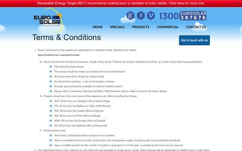Screenshot of Terms Page eurosolar.com.au - Terms and Conditions - captured Sept. 23, 2014