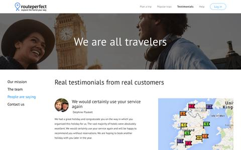 Screenshot of Testimonials Page routeperfect.com - Testimonials - RoutePerfect -Create your perfect trip - captured Sept. 21, 2018