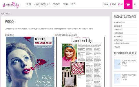 Screenshot of Press Page londonlily.com - Press | London Lily - captured Dec. 13, 2015