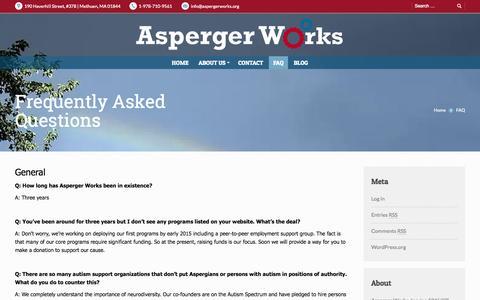 Screenshot of FAQ Page aspergerworks.org - Asperger Works Inc. | FAQ - Asperger Works Inc. - captured Nov. 2, 2014