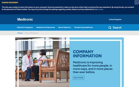 Screenshot of About Page medtronic.com - Improving Care Globally | About Medtronic - captured Oct. 18, 2017