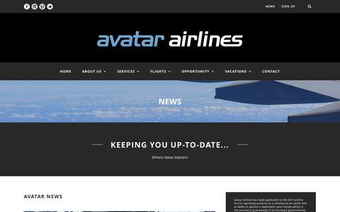Screenshot of Press Page avatarairlines.com - Avatar Airlines  News - Avatar Airlines - captured Nov. 2, 2014