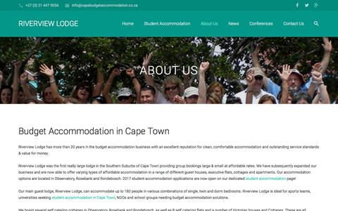 Screenshot of About Page riverview.co.za - Budget Accommodation in Cape Town | Riverview Lodge - captured Dec. 1, 2016