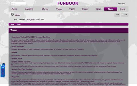 Screenshot of Terms Page funbook-pk.com - Terms of use | FUNBOOK - Largest Growing Social Media Network in Pakistan-India - New Local Social Website - captured Oct. 6, 2014