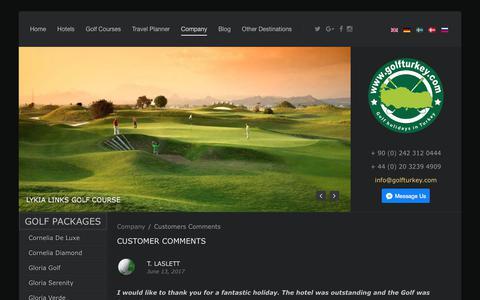 Screenshot of Testimonials Page golfturkey.com - Customer comments for Golf Holidays in Turkey - captured Oct. 7, 2017