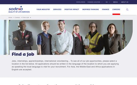 Screenshot of Jobs Page sodexo.com - Find a job - captured July 8, 2019