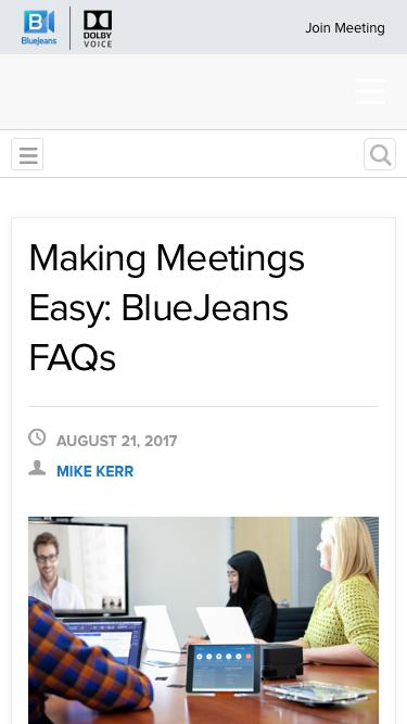 Screenshot of FAQ Page  bluejeans.com - Using BlueJeans: Frequently Asked Questions - BlueJeans Blog