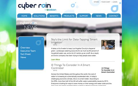 Screenshot of Press Page cyber-rain.com - Cyber Rain News, Remote Irrigation Controllers, Smart Irrigation Solutions, Wireless Sprinkler System - captured Sept. 12, 2014