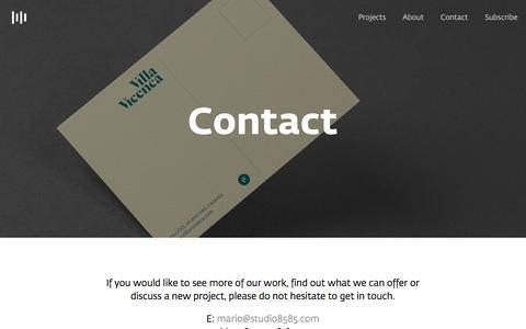 Screenshot of Contact Page studio8585.com - Contact — Studio8585 - captured Aug. 16, 2015