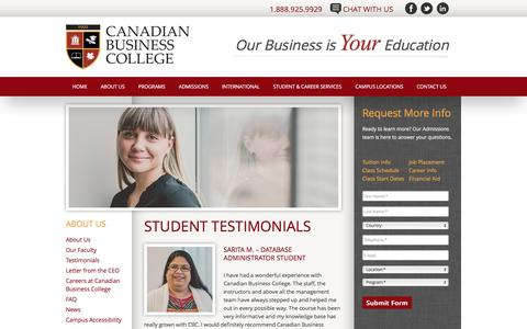 Screenshot of Testimonials Page canadianbusinesscollege.com - Student Testimonials – Canadian Business College - captured July 10, 2016