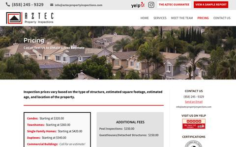 Screenshot of Pricing Page aztecpropertyinspections.com - San Diego Home Inspection Pricing - Aztec Property Inspections - captured July 31, 2018