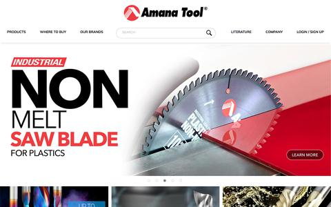 Screenshot of Home Page amanatool.com - Router Bits, CNC Router Bits, Saw Blades, Shaper Cutters, Boring Bits by Amana Tool - captured Sept. 22, 2018