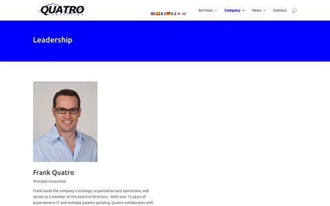 Screenshot of Team Page quatroconsulting.com - Leadership | Quatro Consulting - captured July 23, 2018