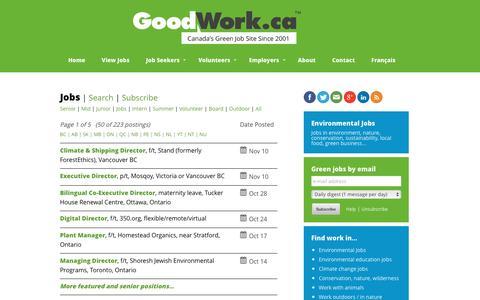 Screenshot of Jobs Page goodwork.ca - Environmental Jobs, Green Jobs, Conservation Jobs   GoodWork.ca - captured Nov. 11, 2016