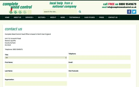 Screenshot of Contact Page completeweedcontrol.co.uk - Contact us | Complete Weed Control - captured July 15, 2016