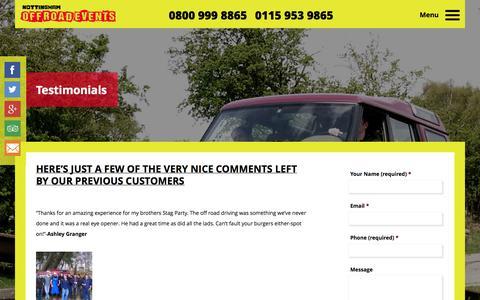 Screenshot of Testimonials Page nottinghamoffroadevents.co.uk - Nottingham off road events testimonials | Nottingham Off Road Events Ltd - captured Oct. 26, 2014