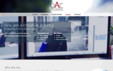 Screenshot of About Page oacdesigns.com - About OAC Designs - Experts in Web Design and Development - captured Oct. 7, 2014