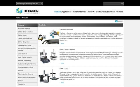 Screenshot of Products Page hexagonmetrology.in - Products | Hexagon Metrology Asia Pacific - captured March 2, 2016
