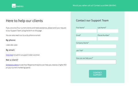 Screenshot of Support Page telmetrics.com - Contact Telmetrics Support - captured Dec. 22, 2016