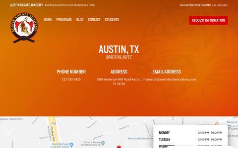 Screenshot of Contact Page austinkarateacademy.com - Austin, TX   Austin Karate Academy - captured Nov. 6, 2018