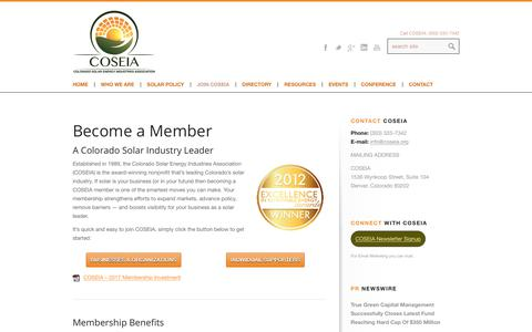 Screenshot of Signup Page coseia.org - The Colorado Solar Energy Industry Leader : Join COSEIA - captured Aug. 13, 2017