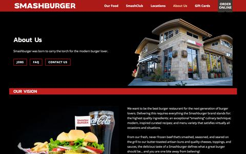Screenshot of About Page Contact Page smashburger.com - About Us - Smashburger - captured July 21, 2018