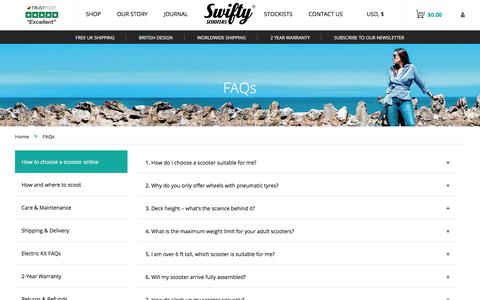 Screenshot of FAQ Page swiftyscooters.com - FAQs - Swifty Scooters - captured Nov. 16, 2017