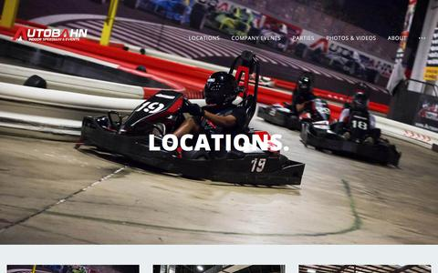 Screenshot of Contact Page Locations Page autobahnspeed.com - Indoor Go-Karting Locations | Autobahn Indoor Speedway - captured Feb. 16, 2018