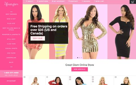 Screenshot of Home Page greatglam.com - Great Glam- The Best clothes shop to buy sexy dresses, club tops, and shoes online at cheap prices. Our clothing Store sells clubbing tops, women's dresses, short skirts, sexy mini dress & heels. - captured Aug. 30, 2016