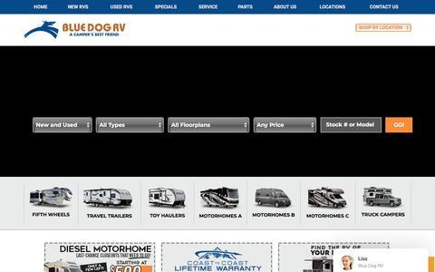 Screenshot of Home Page bluedogrv.com - RV Dealership Seattle WA | Portland OR | Post Falls ID - captured Aug. 2, 2018