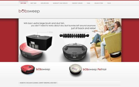 Screenshot of Home Page bobsweep.com - bObsweep | more than just a robot vacuum cleaner - captured Sept. 19, 2014