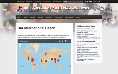 Screenshot of Maps & Directions Page fca.org - Our International Reach... | Fellowship of Christian Athletes - captured Nov. 3, 2014