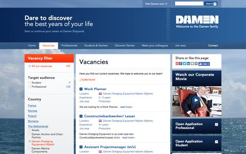 Screenshot of Jobs Page damen.com - Explore a wide range of vacancies and internships at Damen - captured Oct. 7, 2018